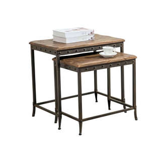 Trenton Distressed Pine and Metal Nesting Tables (Set of 2)