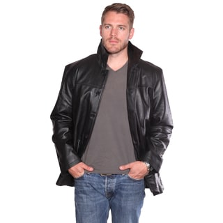 NuBorn Men's 'Clint' Black Leather 3-button Carcoat with 3M Thinsulate