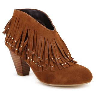 Ann Creek Women's 'Chazy' Cognac Fringed Leather Ankle Boots