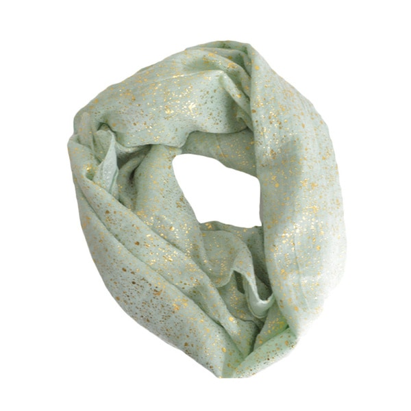 LA77 Champagne Metallic and Mint Green Infinity Scarf