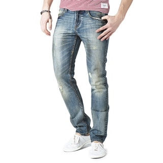 Simple Living High Thinking Jeans Men's 'Carnegie' Dark Blue Stained Denim Jeans