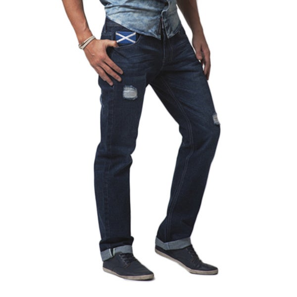 Simple Living High Thinking Jeans Men's 'Scottish' Dark Blue Faded Jeans