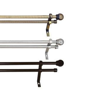 Versailles Adjustable 0.62-inch Double Curtain Rod Set