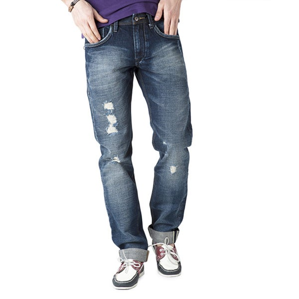 Simple Living High Thinking Jeans Men's Ghetto Blue Ripped Jeans