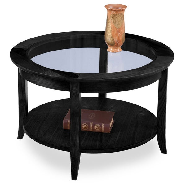 Solid Oak Slate Black Round Coffee Table