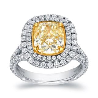 Auriya 18k Two-tone Gold 4 1/5ct TDW Certified Cushion-cut Double Halo Fancy Yellow Diamond Engagement Ring (VS1-VS2)