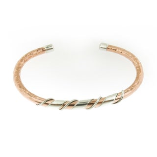 Handcrafted Hammered Copper with Coiled Sterling Silver Cuff Bracelet (Mexico)