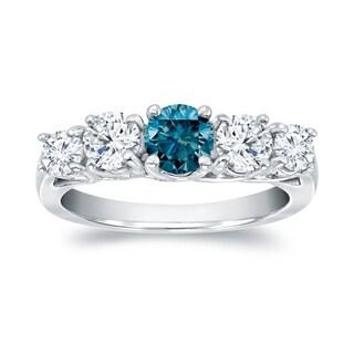Auriya 14k White Gold 1ct TDW 5-stone Blue Round Diamond Ring (SI1-S12)