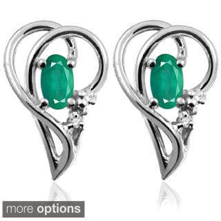Silver Emerald Gemstone and White Diamond Accent Earrings