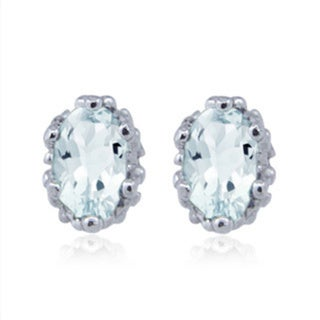 Silvertone Aquamarine Gemstone Earrings