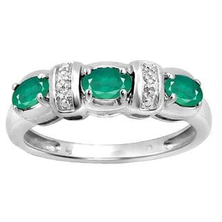 Sterling Silver Gemstone & Diamond Accent Flower Ring