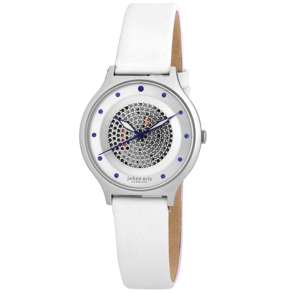 Johan Eric Women's Orstead Round Stainless Steel Silver Sunray Dial Swarovski Crystal Watch