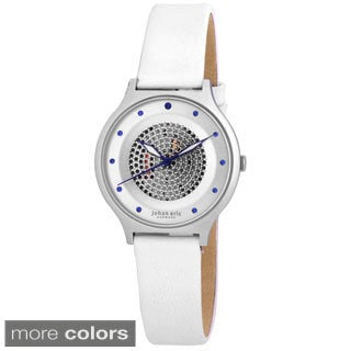 Johan Eric Women's Orstead Round Stainless Steel Silver Sunray Dial Austrian Crystal Watch