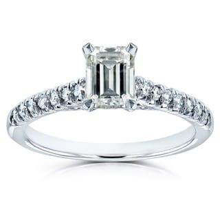 Annello 14k Gold Emerald-cut Moissanite and 1/6ct TDW Diamond Engagement Ring (G-H, I1-I2)