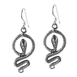 Vintage Serpent .925 Sterling Silver Snake Dangle Earrings (Thailand)