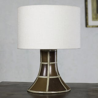 Handcrafted Ceramic 'Earth Weave' Table Lamp (Mexico)