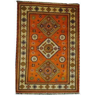 Herat Oriental Indo Hand-knotted Tribal Kazak Orange/ Ivory Wool Rug (5'8 x 7'10)