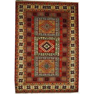 Herat Oriental Indo Hand-knotted Tribal Kazak Orange/ Ivory Wool Rug (5'8 x 8')