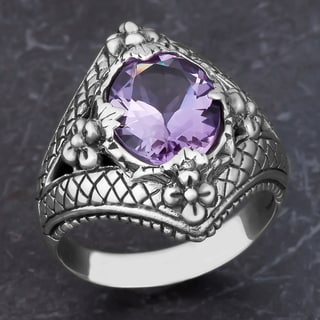 Sterling Silver Amethyst Floral Cawi Ring (Indonesia)