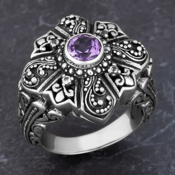 Sterling Silver Amethyst 'Secret Garden' Cawi Ring (Indonesia)