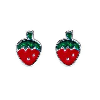 Petite Juicy Strawberry Sterling Silver Stud Earrings (Thailand)