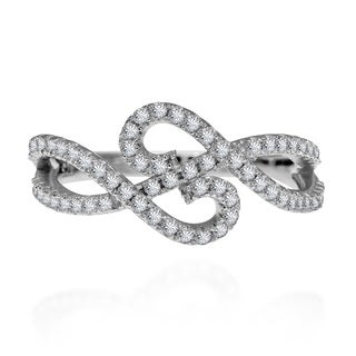 Double Infinity Cubic Zirconia Adorned .925 Silver Ring (Thailand)