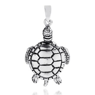 Adorable Chubby Movable Sea Turtle Sterling Silver Pendant (Thailand)