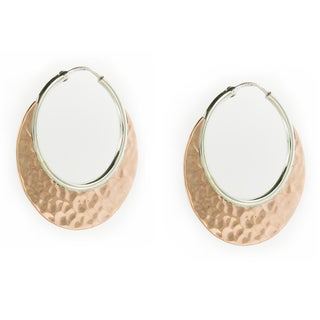 Handcrafted Sterling Silver Hoop with Copper Arch Earrings (Mexico)