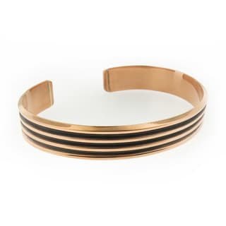 Handcrafted Polished Copper with Oxidized Stripes Unisex Cuff Bracelet (Mexico)