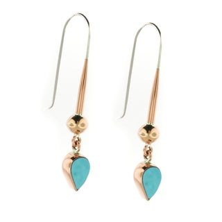 Handcrafted Copper and Turquoise Teardrop Dangle Earrings (Mexico)