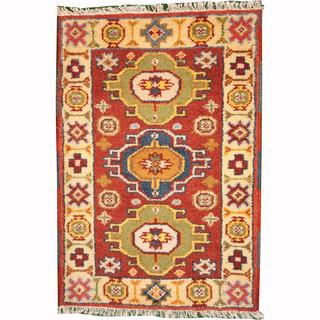 Herat Oriental Indo Hand-knotted Tribal Kazak Rust/ Green Wool Rug (2' x 3')