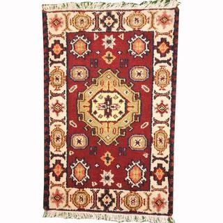 Herat Oriental Indo Hand-knotted Tribal Kazak Burgundy/ Green Wool Rug (2' x 3')