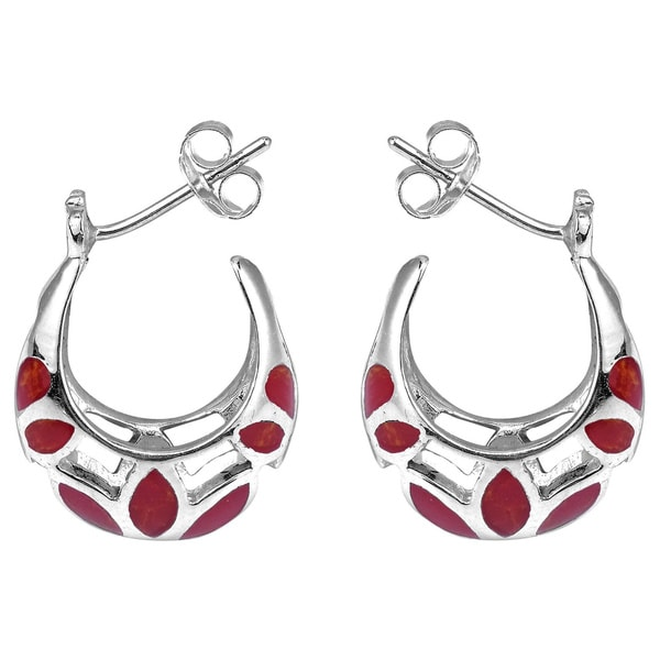 Mesmerizing Stone Embedded .925 Silver Half Hoop Earrings (Thailand)