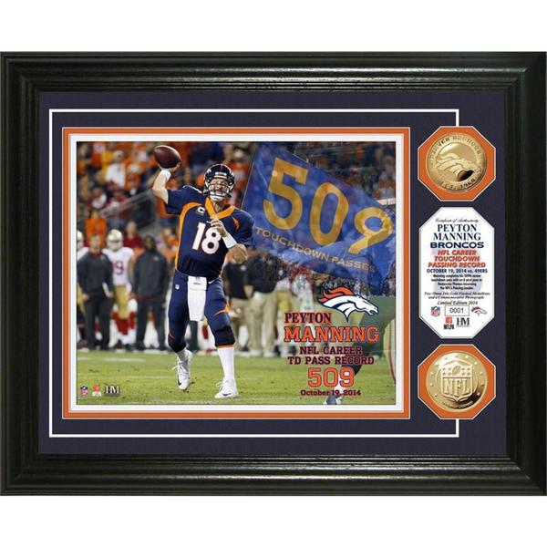 Peyton Manning TD Record Gold Coin Photo Mint