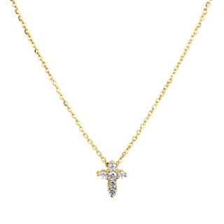 Gold Cubic Zirconia Tiny Cross Necklace