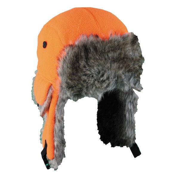 Fleece Trapper with Long Fur Trim Bomber Hat