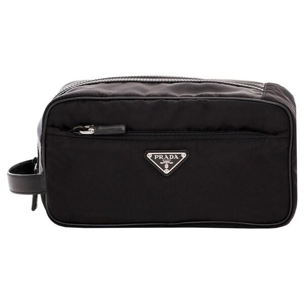 Prada Black Nylon Toiletry Case - 16738052 - Overstock.com ...