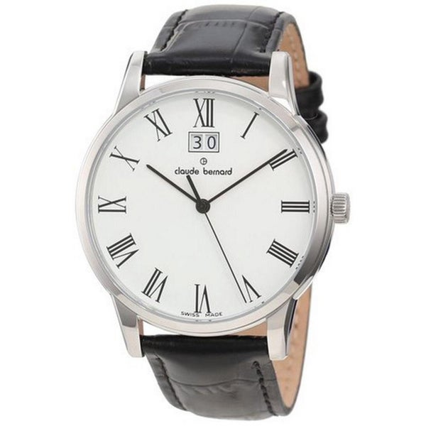 Claude Bernard Men's 63003 3 BR Classic White Dial Black Leather Watch