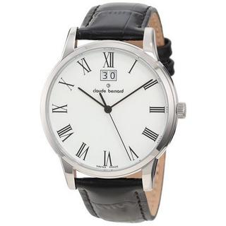 Claude Bernard Men's 63003 3 BR Classic White Dial Black Leather Watch