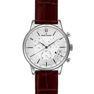 Claude Bernard Men's 01002 3 AIN Classic Chrono White Dial Brown Leather Strap Watch
