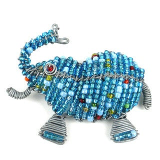 Handmade Beaded Light Blue Elephant Fridge Magnet (South Africa)