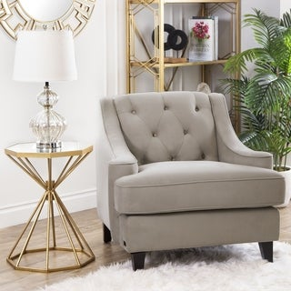 Abbyson Living Claridge Beige Velvet Fabric Tufted Armchair