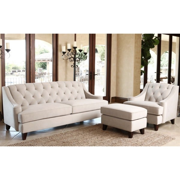 abbyson living claridge velvet fabric 3 piece taupe sofa armchair and