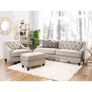 Abbyson Living Claridge Velvet Fabric 3-piece Beige Sofa, Armchair and Ottoman Set