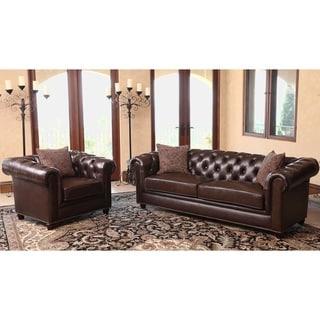 Abbyson Living Carmela Chesterfield Premium Top Grain Leather Sofa and Armchair Set