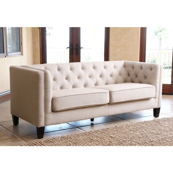 moser bay furniture garcia beige hand tufted rolled arms loveseat