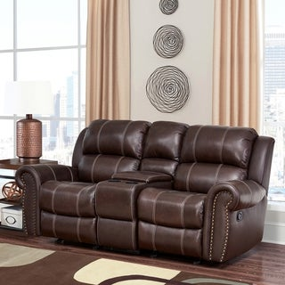 Abbyson Living Clarendon Top Grain Leather Glider Reclining Loveseat with Console