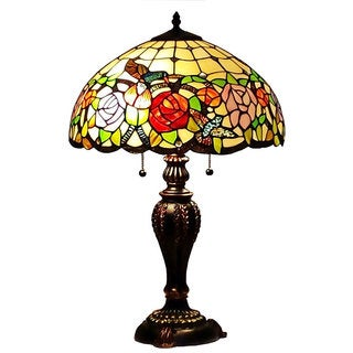 Tiffany-style 2-light Floral Table Lamp