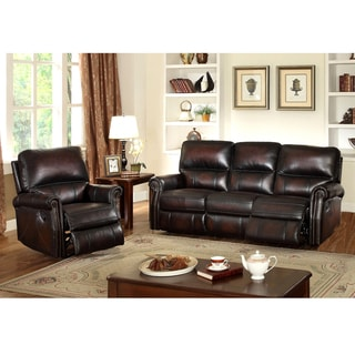 Crestview Dark Brown Hand Rubbed Top Grain Leather Reclining Sofa and Recliner