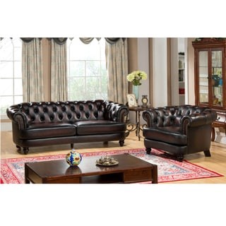 Moore Hand Rubbed Tufted Brown Chesterfield Top Grain Leather Sofa and Chair